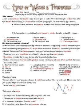 Types Of Waves And Wave Properties Worksheet With Images Types