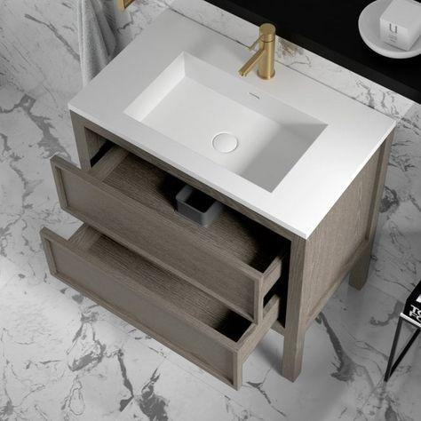 Lusso Claridge Grey Oak Bathroom