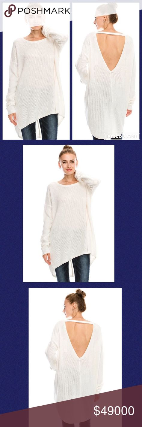 High/Low Ivory Oversize Sweater w/ Open Back!