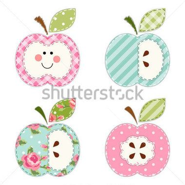 Lindas manzanas con las semillas o como un personaje como apliques de tela retro