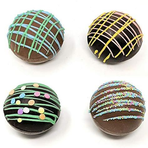 """Hot Chocolate Bombs Features: HANDCRAFTED BY A CHOCOLATIER WITH REAL BELGIAN CHOCOLATE AND FILLED WITH MINI MARSHMALLOWS- A Fun and Tasty Gourmet Treat FUN UNIQUE GIFT LOVED BY ALL - A Fun Twist on Instant Hot Chocolate Mix That Kids and Adult Enjoy WORKS LIKE MAGIC BY DISSOLVING IN HOT MILK - An Exciting and Magical Experience as Belgian Milk Chocolate Ball Melts into a Rich, Smooth, Treat INCLUDES 2 DARK CHOCOLATE BOMBS AND 2 MILK CHOCOLATE BOMBS - Each Topped with a Fun Design LARGE 2.25"""" SIZ"""