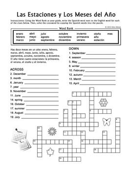 Las Estaciones Y Los Meses Spanish Seasons And Months Crossword Puzzle Learn Spanish Online Spanish Reading Comprehension German Language Learning