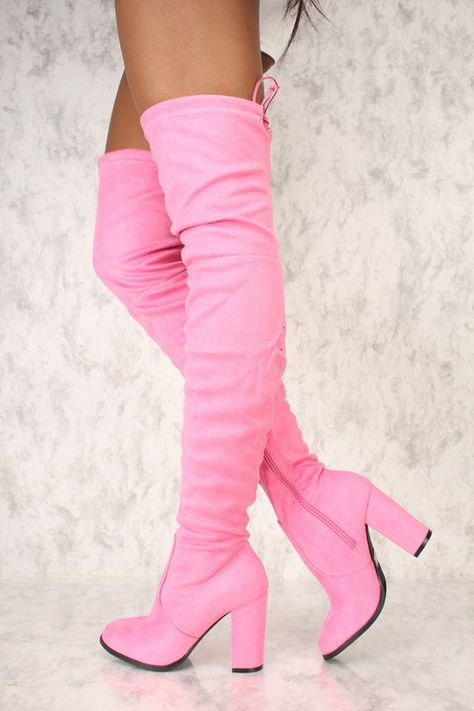 a200cf4ab0922 Sexy Pink Round Pointy Toe Thigh High Boots Single Sole Chunky High Heel  Faux Suede