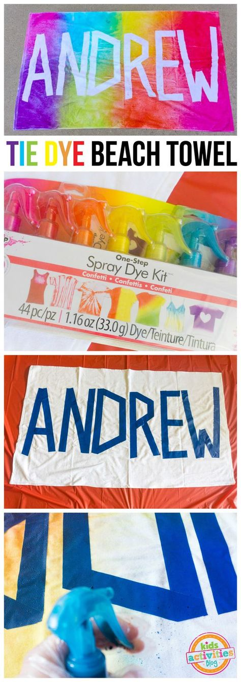 Make a personalized tie dye beach towel for your kids this summer! So cute and fun, made with One-Step Spray Dye Kit from Tulip! sponsored by @ilovetocreate