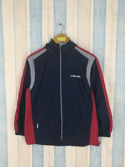 HEAD Windbreaker Medium Blue Vintage 1990's Track Top