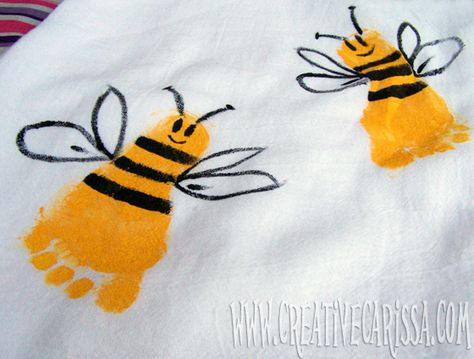 Cotton dish towels with footprints - great gift idea!