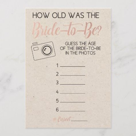 Bridal Shower Invitations Bridal Shower Game- Guess Bride's Age from Photo Wedding Planning - Choosi Fun Bridal Shower Games, Bridal Shower Planning, Bridal Games, Bridal Shower Party, Bridal Shower Rustic, Bridal Shower Invitations, Bridal Shower Checklist, Rustic Bridal Shower Decorations, Lingerie Shower Games