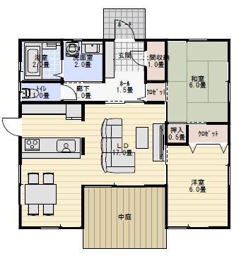 20坪2ldk中庭のある平屋の間取り 平屋間取り 平屋 間取り 20坪