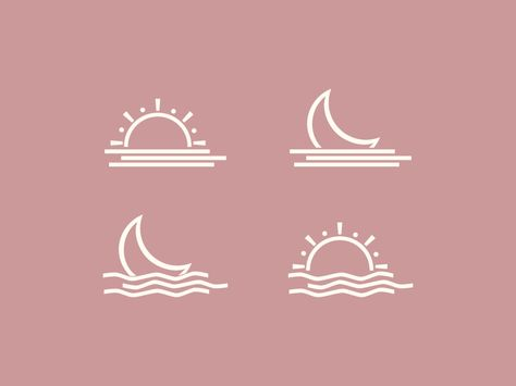 Rising Sun & Moon Over Water Icons