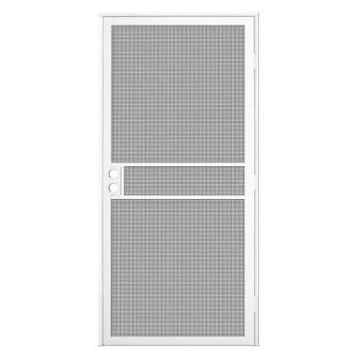 Unique Home Designs 32 In X 80 In White Surface Mount Clearguard Security Door With Meshtec Scr In 2020 Unique House Design Security Door Design Steel Security Doors
