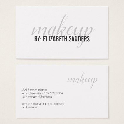 Makeupartist Businesscards Elegant Professional Cursive Makeup Business Car Makeup Artist Business Cards Makeup Business Cards Minimalist Business Cards