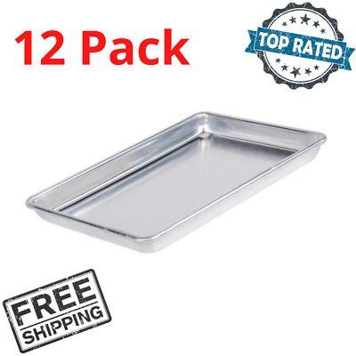12 Pack Quarter Size Aluminum 9 1 2 X 13 Bun Sheet Baking Pan Wire Rim Silver In 2020 Baking Pans Baking Buns Baking