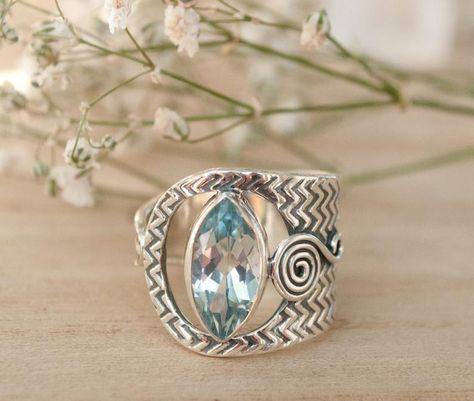 Blue Topaz Ring Gemstone Handmade Bridal Wedding | Etsy