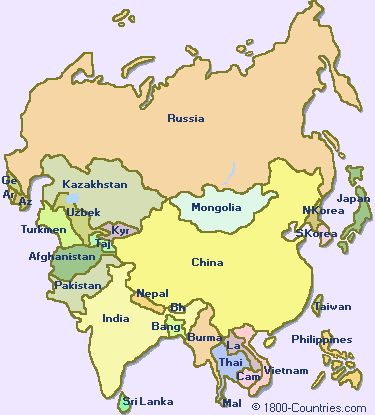 Simple Map Of Asia For Kids