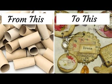 toilet paper rolls into Fobs and more Recycled Embellishments Upcycled Crafts, Video Gospel, Toilet Paper Roll Crafts, Book Journal, Journal Covers, Scrapbook Embellishments, Paper Beads, Smash Book, Mini Albums