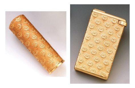 LOT en or jaune gravé à décor de fleurettes sur fond guilloché, comprenant: un tube de rouge à lèvres. BOUCHERON, un briquet de poche à essence. Bien que portant le même poinçon de fabricant et de décor… - F.L. Auction - 07/06/2012
