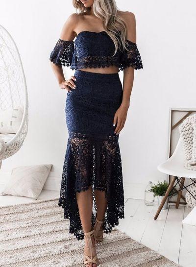 Women S Fashion Crop Top Lace 2 Piece Mermaid Skirt Set Dress