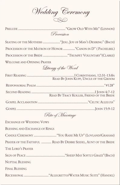 Wedding Ceremony Outline Wedding ceremony outline, Ceremony - new leave application letter format for brother marriage