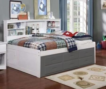 0223w 78 Full Size Bookcase Bed With Bookcase Headboard And Molding Details In Daybed With Storage Bed Frame With Storage Simple Bed