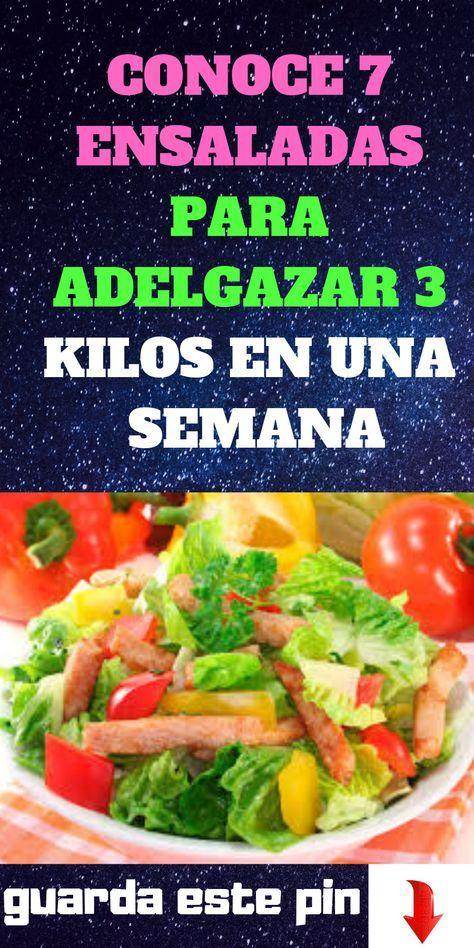 Conoce 7 Ensaladas Para Adelgazar 3 Kilos En Una Semana Ensalada Adelgazar Comidas Cooking Diet Health
