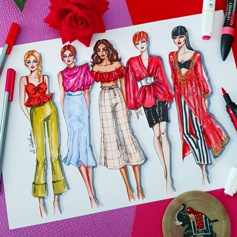 Red Blouse Which Would You Choose 1 2 3 4 Or 5 Fashionartist F With Images Fashion Drawing Dresses Fashion Design Sketches Fashion Illustration