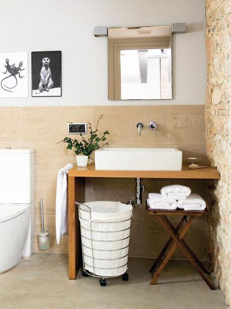 Baño con pared de piedra | Adornos para baños, Decoracion ...