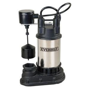 Everbilt 1 2 Hp Submersible Sump Pump Sp05002vd The Home Depot Submersible Sump Pump Sump Pump Submersible Well Pump