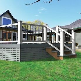 Freedom Prescot White Pvc Deck Rail Kit With Balusters Lowes Com In 2020 Deck Stair Railing Deck Stairs Pvc Decking