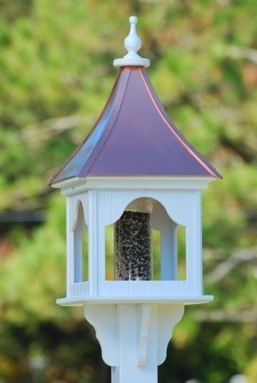 Stunning Bird Feeder With Copper Roof Durable Vinyl Gazebo Bird Feeder Easily Mounts On 4x4 Post Bird Approv Copper Roof Bird Feeder Copper Roof Bird Feeders