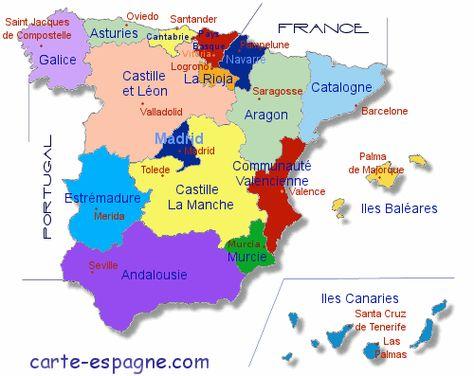 Carte Regions Espagne Region Espagne Espagne Carte Carte Des