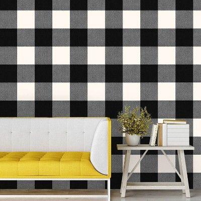 Buffalo Plaid Peel Stick Wallpaper Black Threshold Peel And Stick Wallpaper Plaid Wallpaper Home Decor