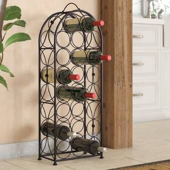 Maxson 5 Bottle Wall Mounted Wine Bottle And Glass Rack Wine
