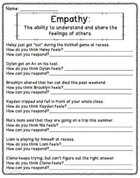 Empathy Worksheets - Free | Connecting with Others | Social skills ...