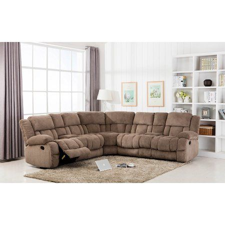 Fine Classic Large Linen Fabric L Shape Sectional Recliner Sofa Pabps2019 Chair Design Images Pabps2019Com