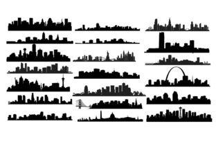 Us City Skyline Svg Dxf Png Eps Graphic By Retrowalldecor Creative Fabrica City Skyline Skyline Drawing Silhouette Clip Art