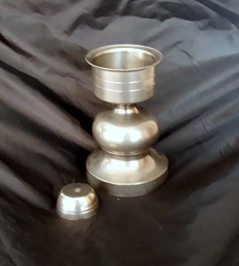 Italian Antiques Pewter candle holder with wick Vintage Italy 1940s Vintage candlestick Home decorations