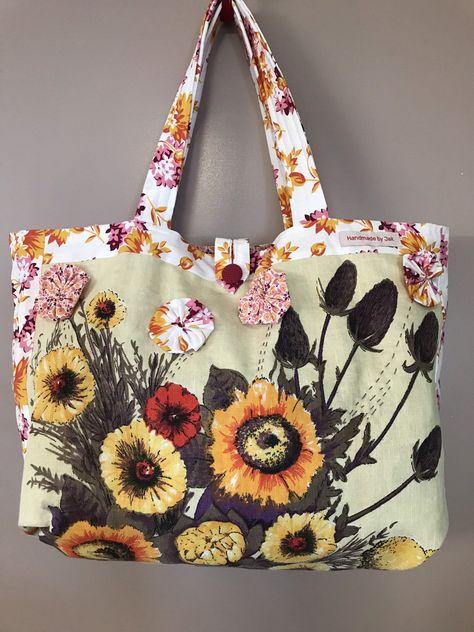 Market Bag Vintage Linen Tea Towel Shopping Bag Tote Flower