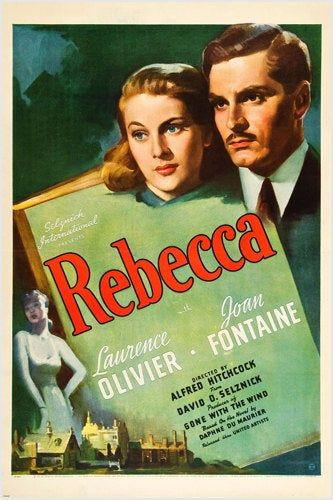 Laurence Olivier Joan Fontaine Movie Rebecca Psycho Thriller – Poster - Canvas Print - Wooden Hanging Scroll Frame