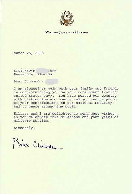 Personal Letter From ExPresident Bill Clinton Upon My Military