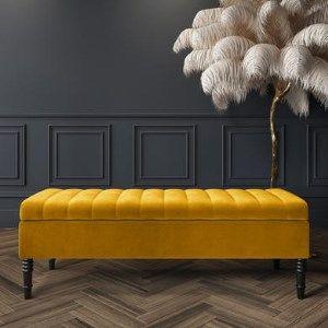 165gbp Safina Striped Top Ottoman Storage Bench In Yellow Velvet In 2020 Storage Ottoman Bench Storage Ottoman Storage Bench