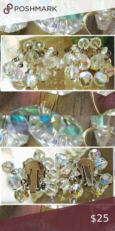 Vintage Aurora Borealis  Clip-On Earrings Vintage Aurora Borealis  Clip-On Earrings. The earrings measure approximately 1 inch. Jewelry Earrings