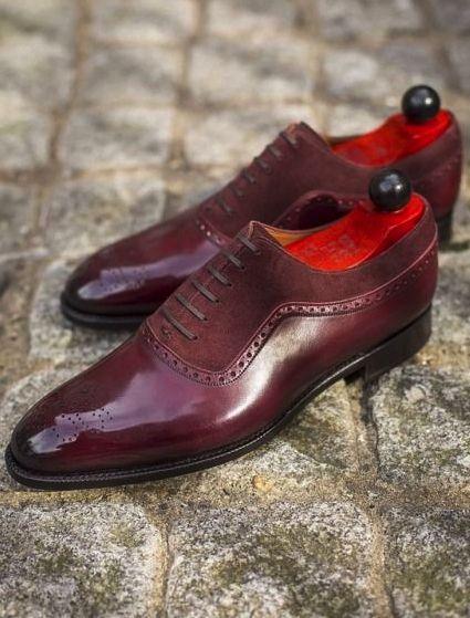 Handmade Men Fashion Two Tone Shoes Men Burgundy Wing Tip Brogue Formal Shoes Burgundy Shoes Men Gents Shoes Dress Shoes Men