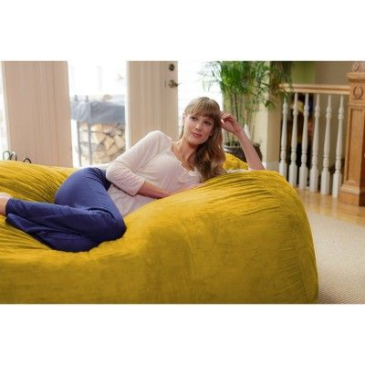 Magnificent 6Ft Microsuede Lounger Lemon Relax Sacks Yellow In 2019 Andrewgaddart Wooden Chair Designs For Living Room Andrewgaddartcom