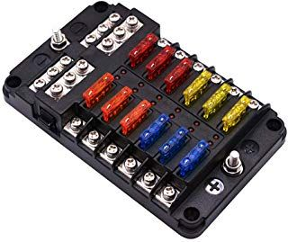 Wupp St Blade Fuse Block With Led Warning Indicator Damp Proof Cover 12 Circuits With Negative Bus Fuse Box For Car Boat Marine Fuse Box Boat Wiring Rv Truck