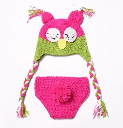 8617ef3071e ... czech 3.88 newborn kid baby cute crochet knit owl costume photography  photo prop hat ebay fashion
