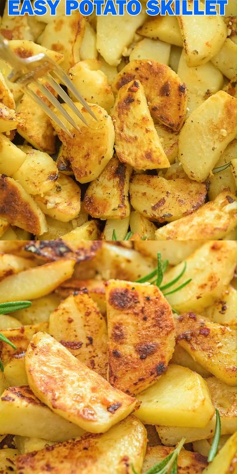 These Skillet Potatoes make a perfect side dish. Made with rosemary and lemon juice, they are aromatic and full of flavor! FOLLOW Cooktoria for more deliciousness! #potatoes #dinner #vegetarian #vegan #plantbased #easyrecipe #lunch #cooktoria