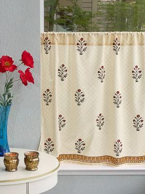 Red Poppy Elegant Indian Flower Print Kitchen Curtain Red Poppies Indian Flowers Red Kitchen Curtains