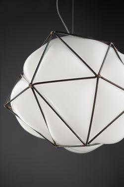 Suspension En Verre Blanc Brillant Cage D Acier Naturel En 2020