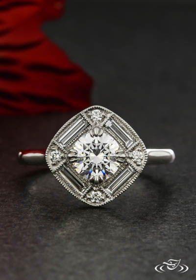 Art Deco Halo Art Deco Engagement Ring Art Deco Jewelry Deco Jewelry