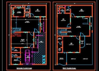 Duplex House Plans Free Download Dwg 35 X60 Duplex House Plans Duplex House House Plans